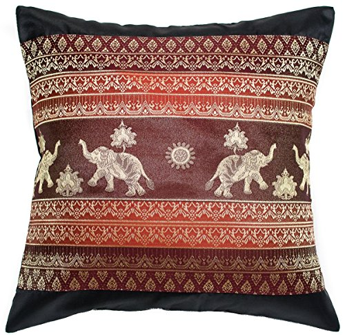 Ayutthaya Print Elephant Sun Throw Pillow Cover Decorative Sofa Couch Cushion Cover Zippered 16x16 Inch (40x40 cm) Black Red (Cowboys Jersey Sham)