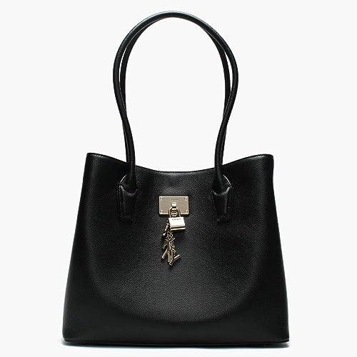 DKNY Große elissa schwarze Leder Tote Tasche Black Leather