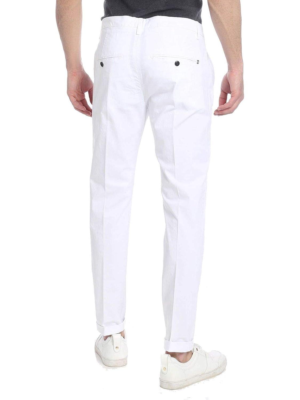 Dondup Mens UP235GS0021U000 White Cotton Pants