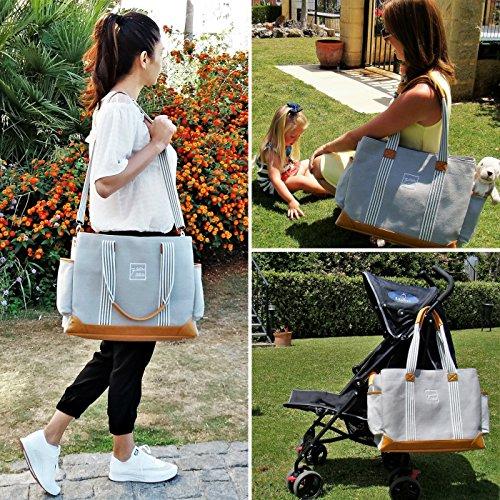 Diaper Bag for Girls and Boys, Large Capacity Baby Bag Grey
