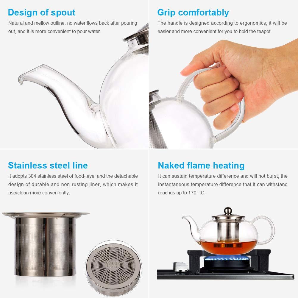 Tetera de cristal n/órdico con infusor tetera con colador para hoja suelta apta para microondas tetera de cristal de borosilicato resistente al calor con filtro