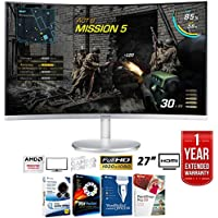 Samsung C27F591 27 LED Curved Monitor 1920x1080 + Elite Suite 17 Standard Software Bundle (Corel WordPerfect, Winzip, PDF Fusion,X9) + 1 Year Extended Warranty