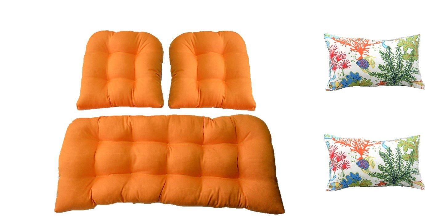 MojoアイスキャンディーオレンジクッションウィッカーLoveseat Settee マーケット 2の一致する椅子クッション+ 2 Free Splish Fish長方形 Tropical Spash 超特価SALE開催 ランバーサポート枕 B01ERXNHJQ