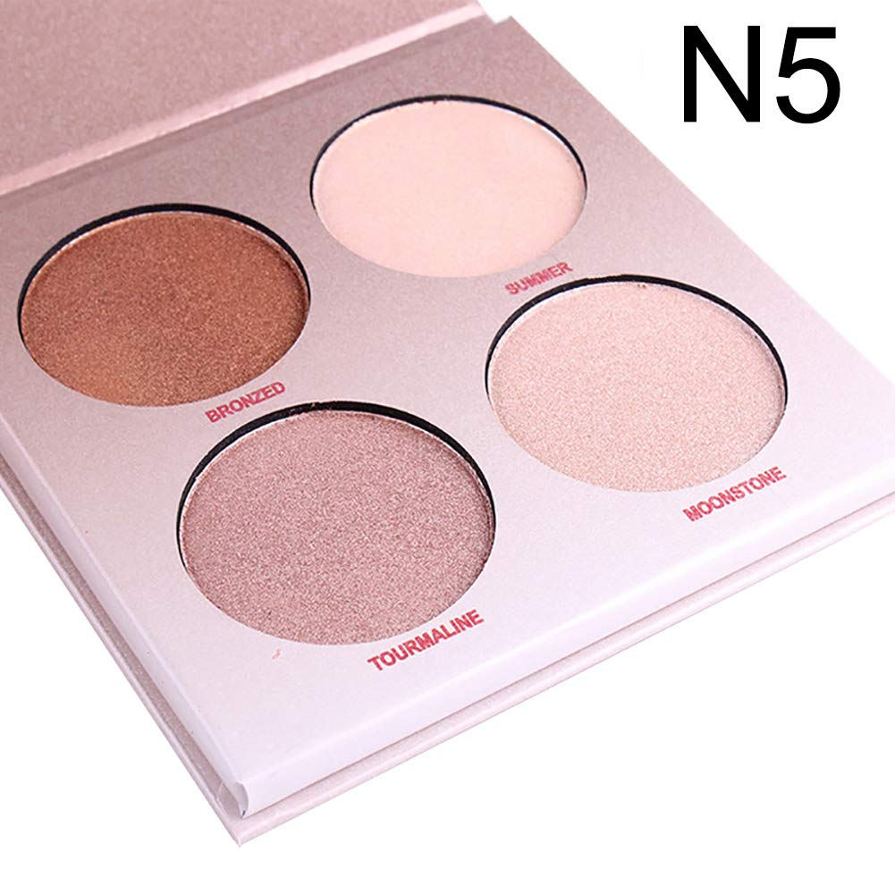 wewa98698 4 Color Shimmer Glow Kit Highlighter Powder Palette Base Illuminating Makeup N5