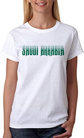 خربشات تيشيرت المملكة العربية السعودية للنساء , مقاس S , ابيض