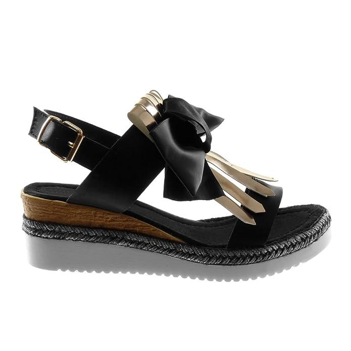 Angkorly Damen Schuhe Sandalen Mule - Knöchelriemen - Plateauschuhe - Knoten - Fransen - Seil Keilabsatz High Heel 5.5 cm - Champagner F2602 T 36 qKi5OpxWHI