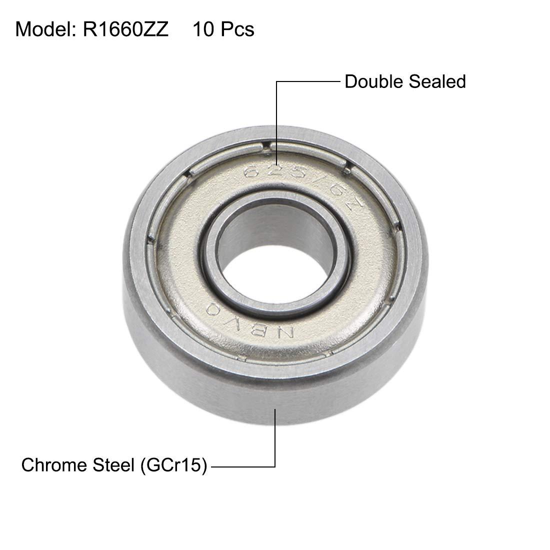 sourcing map R1660ZZ Rodamientos R/ígidos Bolas 6mm 16mm Di/ámetro Interior 5mm OD Blindado Doble Acero Cromo Z2 10Uds