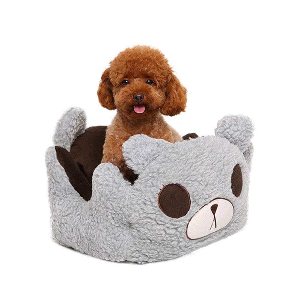 Cat and Dog Bed, Winter Warm Cat Litter Nest Dog House, Comfortable PP Cotton, Lamb Velvet + Short Plush, Cushion Removable and Washable, Oxford Cloth,Gray,M