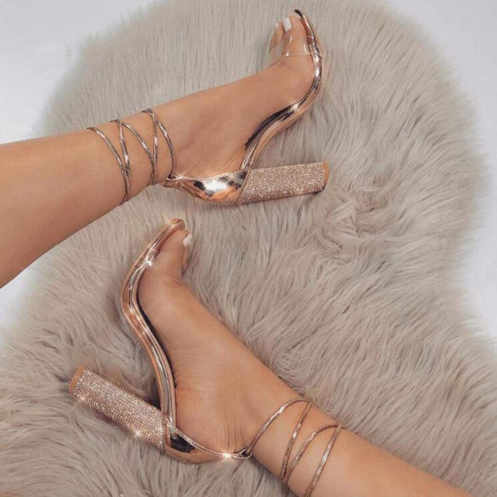 XIATI Women Heeled Sandals Bandage Rhinestone Ankle Strap Pumps Super High Heels Beige