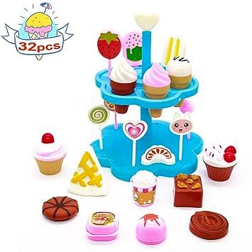 Cocina Set Comida Juguete Fiesta Cumpleaños Infantil Helados Juguete Juego de Roles - DIY Postres y Helado de Imaginación Set para niños 3 años (32 ...