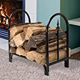 Best Quality Indoor Black Tubed Steel Durable Sturdy Classic Firewood Log Holder Rack Stand For Fireplace- Designed With Elegance To Enhance The Beauty Of Your Living Room Den Bedroom Fireplace Area