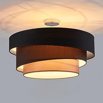 Deckenleuchte Runde Deckenlampe Decken Beleuchtung Wohnzimmer Schlafzimmer  Esszimmer Küche Flur Licht Stoff Metall Lampe 3 Farbe