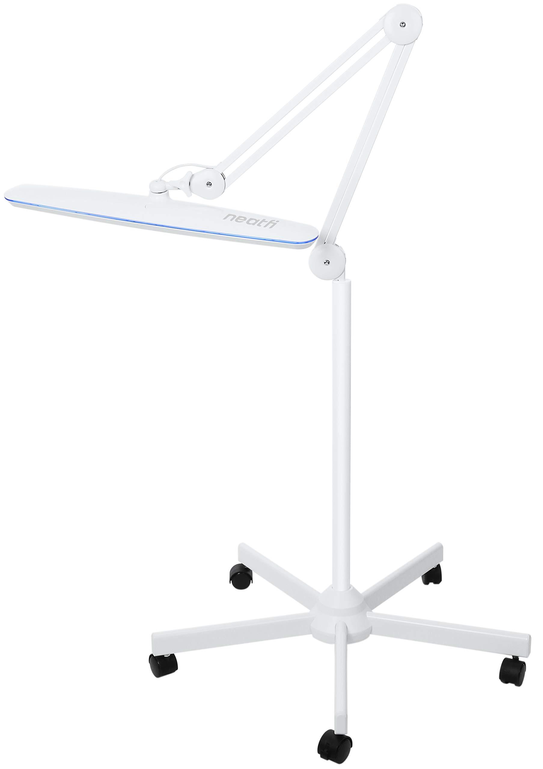 "Neatfi XL 2,200 Lumens LED Task Lamp with Floor Stand | 24W | 117PCS SMD LED | 23"" Ultra Wide Lamp | 4-Level Brightness Dimmable | Eye-Caring LED Lamp | Glare Free | 5 Wheel Rolling Base"