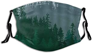 JISMUCI Pine Tree Abstraction Of A Coniferous Forest Evergreen Trees Outdoors Dust Washable Reusable Filter and Reusable Mouth Warm Windproof Cotton Face