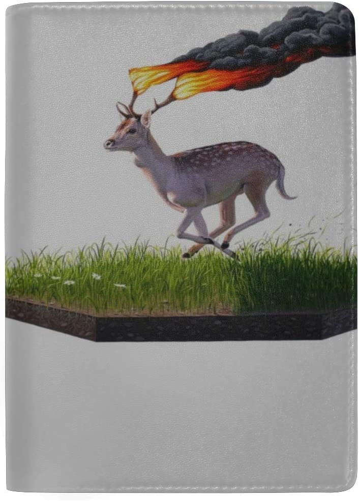 Fire Animal Spotted Antelope Burning Horns Leather Passport Holder Cover Case Travel One Pocket