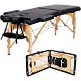 Yaheetech Massage Table Portable Massage Bed Massage Therapy Table Spa Bed 84 Inch Adjustable 2 Fold Salon Bed Face Cradle Be