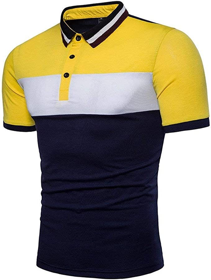 Polo Camisa Hombre Verano Casual Sport Slim Fit Color Block Polo ...
