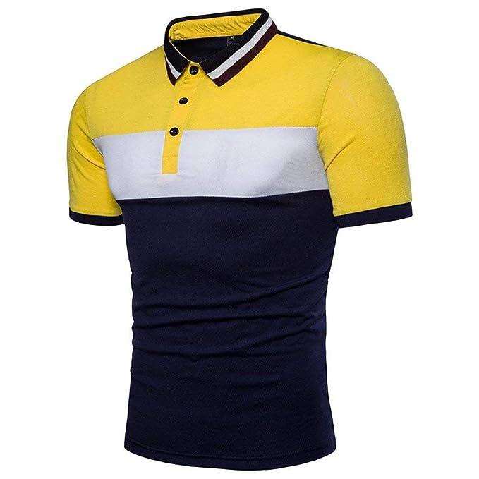 Polo Camisa Hombre Verano Casual Sport Slim Fit Color Ropa Block Polo Manga  Corta Oversize Fashion Solapel Polo  Amazon.es  Ropa y accesorios ef56f1b3f5f