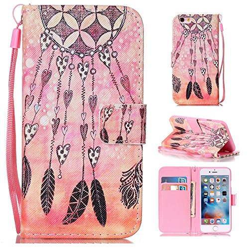 Iphone 6S Plus Case, Papillon Windchime Couleur Motif de peinture Housse en cuir de protection Silicone avec sangle de la main & Holder & Wallet Card Slots pour Iphone 6S Plus ( PATTERN : K , Size : I