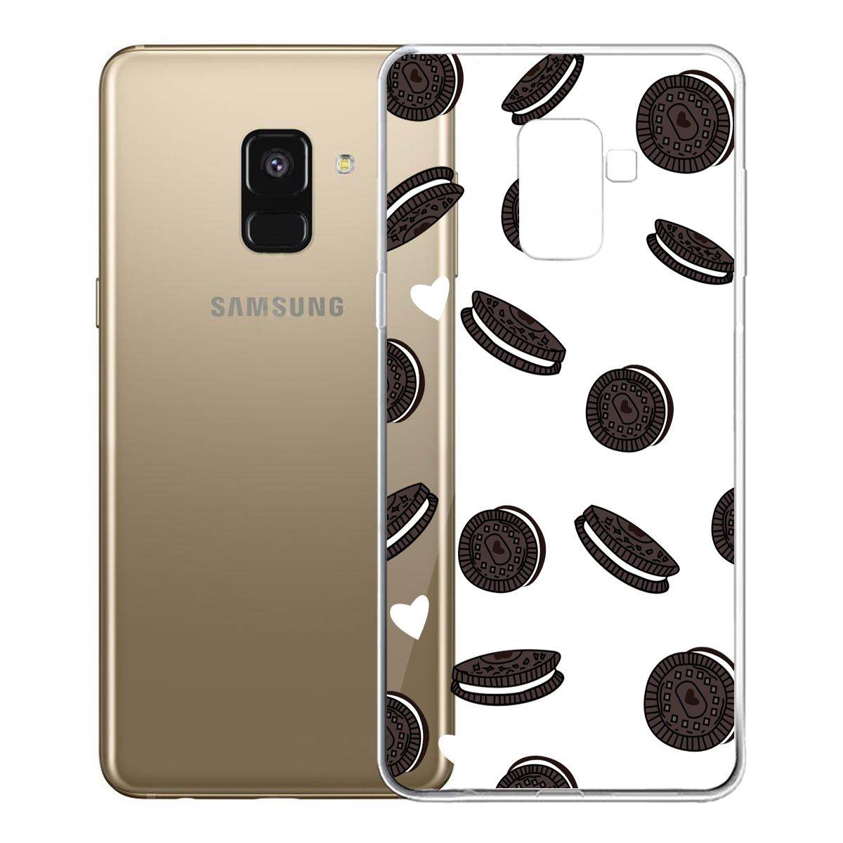 5.6 Custodia per Samsung Galaxy A8 2018 IJIA Trasparente Blu Fiori Di Peonia TPU Silicone Morbido Protettivo Coperchio Skin Custodia Bumper Protettiva Case Cover per Samsung Galaxy A8 2018 SM-A530