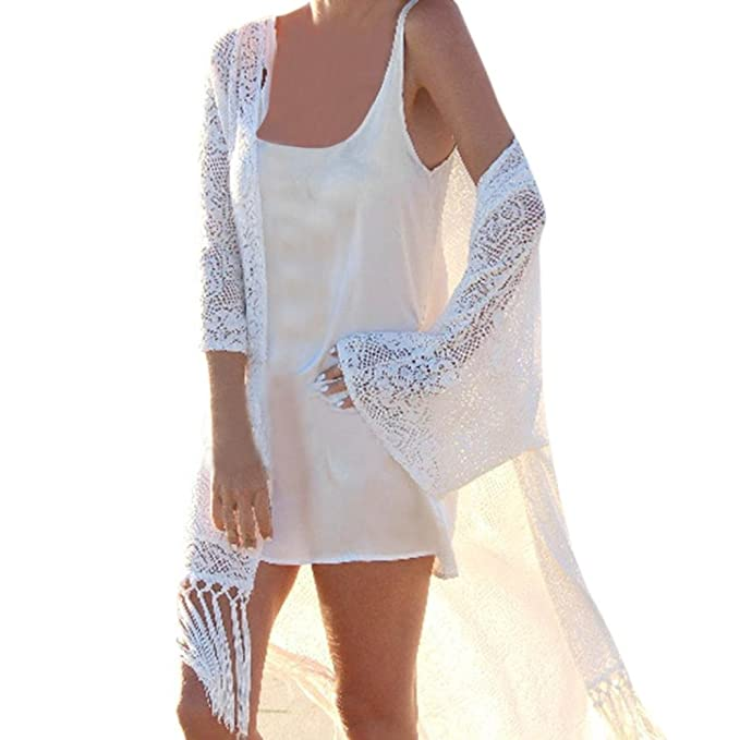 Blouses & Shirts Womens Summer Long Sleeves Swimsuit Cover Up Ethnic Geometric Patterns Embroidered Tassels Cuff Beach Tunic Top Dress Off Should