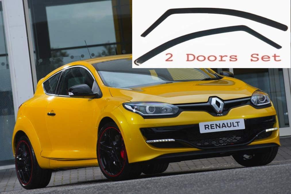 AC WOW 2 deflectores de viento para Renault Megane 2008-2016 Mk3 de 3 puertas ajuste interior protecci/ón sol lluvia nieve viento