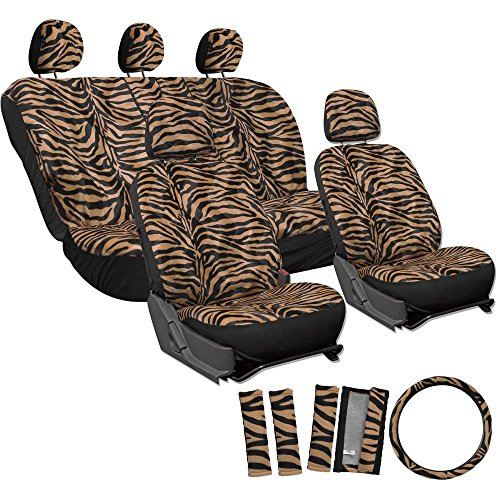 Moto Seat Cover Seat (OxGord 17pc Set Zebra Animal Print Auto Seat Covers Set - Front Low Back Buckets - Rear Split Bench - Orange & Black)