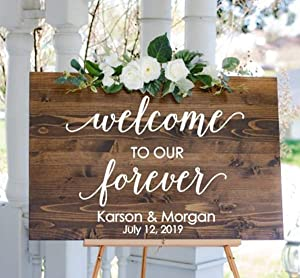 EricauBird Welcome Wedding Decal Welcome to Our Forever Wedding Sign DIY Lettering Personalized Decor for Modern Wedding Rustic Wedding Decor