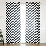 Best Home Fashion Oxford Basketweave Chevron Print Curtains – Stainless Steel Nickel Grommet Top – Black – 52″ W x 96″ L – (Set of 2 Panels)