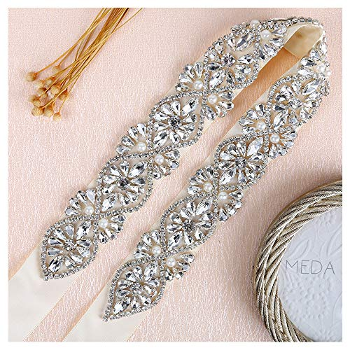 QueenDream Silver Crystal Beaded Ivory Satin Bridal Sash Wedding Belt for Bride