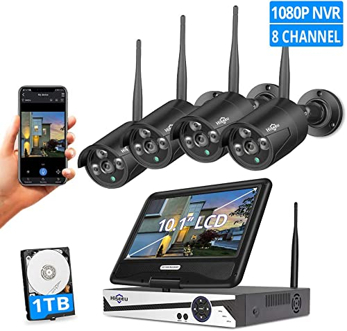 8CH Expandable Hiseeu All in one with 10.1 LCD Monitor Wireless Security Camera System with Audio, 8CH 1080P NVR Kit 4Pcs 2MP Outdoor Bullet IP Cameras 65ft Night Vision Waterproof,1TB Hard Drive