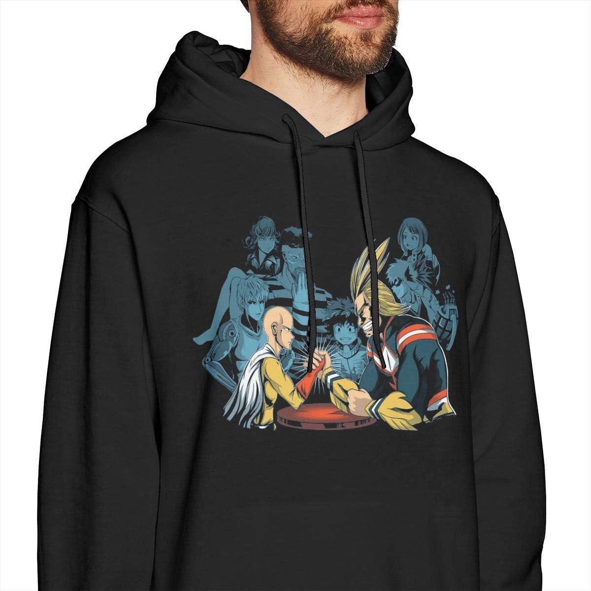 zhkx Wer würde Saitama & All Might Mens Pullover Hoodies mit Rundhalsausschnitt und Langen Ärmeln gewinnen? Schwarz Xxx-large style1
