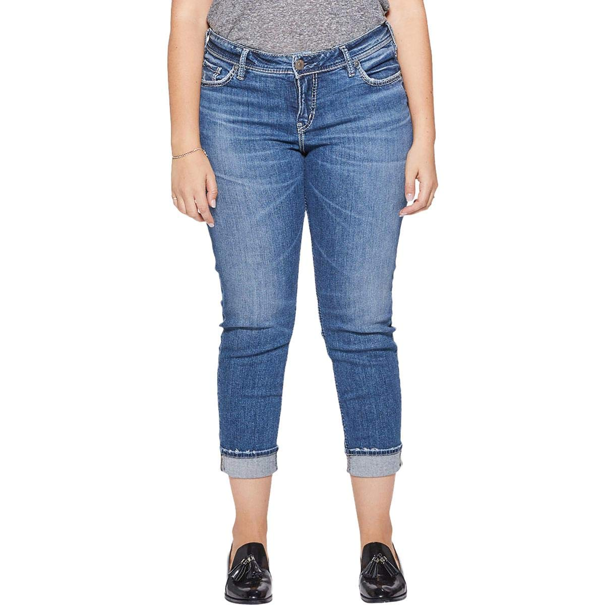 Silver Jeans Co Womens Plus Suki Slim Distressed Ankle Jeans