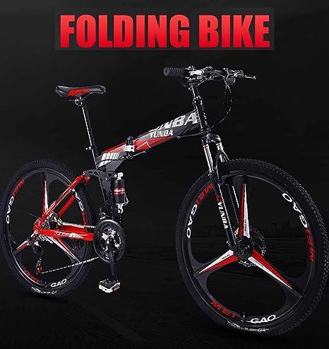 GUOE-YKGM Bicicletas 26 Pulgadas Montaña Edad, Estructura De Suspensión De Acero Al Carbono De Alta Completo Bicicleta Plegable, 24/27 Velocidad De Bicicletas De Montaña For Las Mujeres/Hombres: Amazon.es: Deportes y aire libre