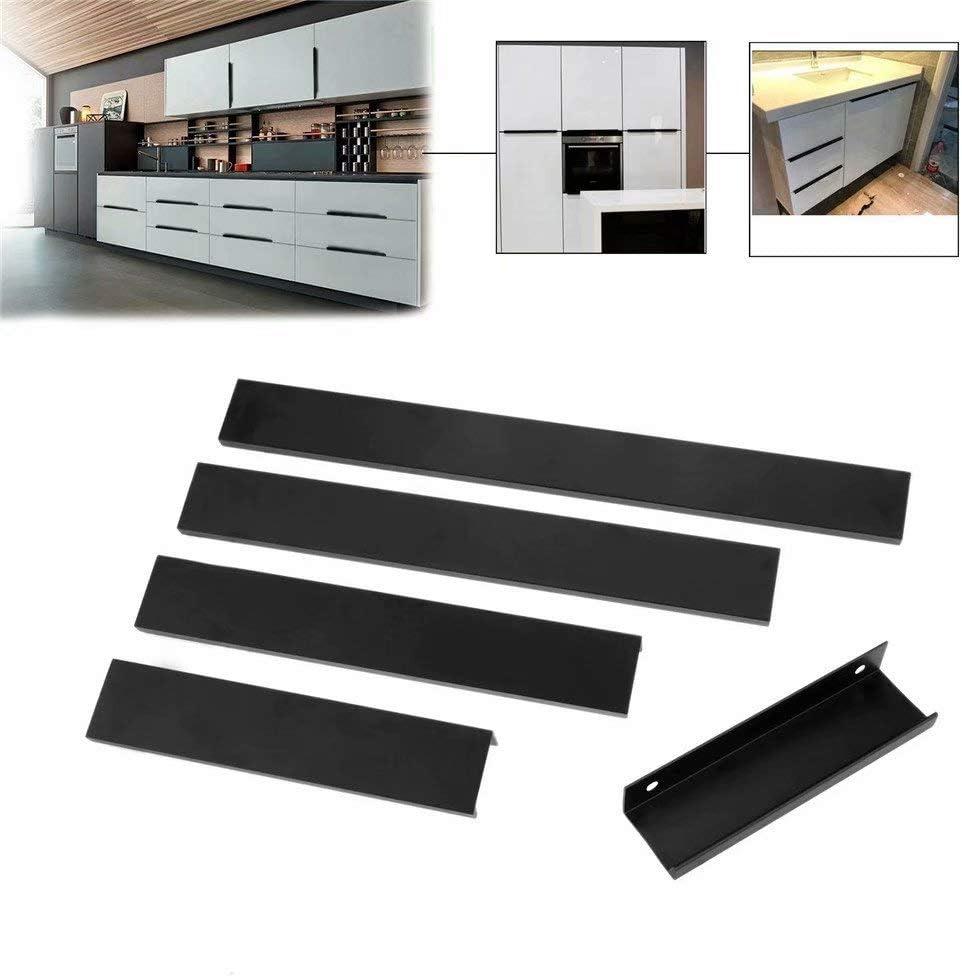 Creatwls Color Negro Tiradores Invisibles para Puerta de Armario de Cocina 10 Unidades Hole Distance 96 mm aleaci/ón de Aluminio Aleaci/ón de Aluminio