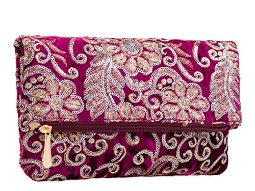 KT2183 Flower Grey Clutch Fold over Sequined Evening Faux Handbag Ladies Floral Women's Velvet Bag q1wRF