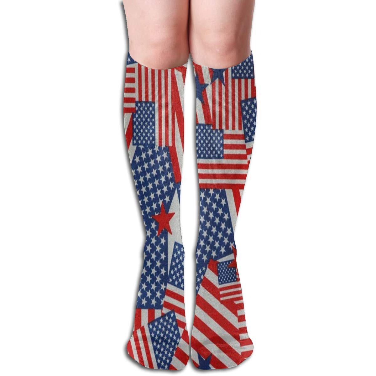 Women Socks Over Knee American Flag Happy Independence Day Winter Customized