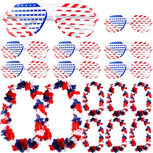 Chinco 8 Pieces Patriotic Flower Necklace and 8 Pieces Shutter Shades Decorative Glasses Party Props for 4th of July National Day Patriotic -