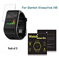 Garmin Vivoactive HR GPS Smart Watch Screen Protectors - iFeeker 3 Pack Full Converage Dust and Scratch Proof Ultra Thin HD Clear Film Screen Protector with Dust Absorber Stickers and Screen Cleaning Cloth for Garmin Vivoactive HR GPS Smart Watch