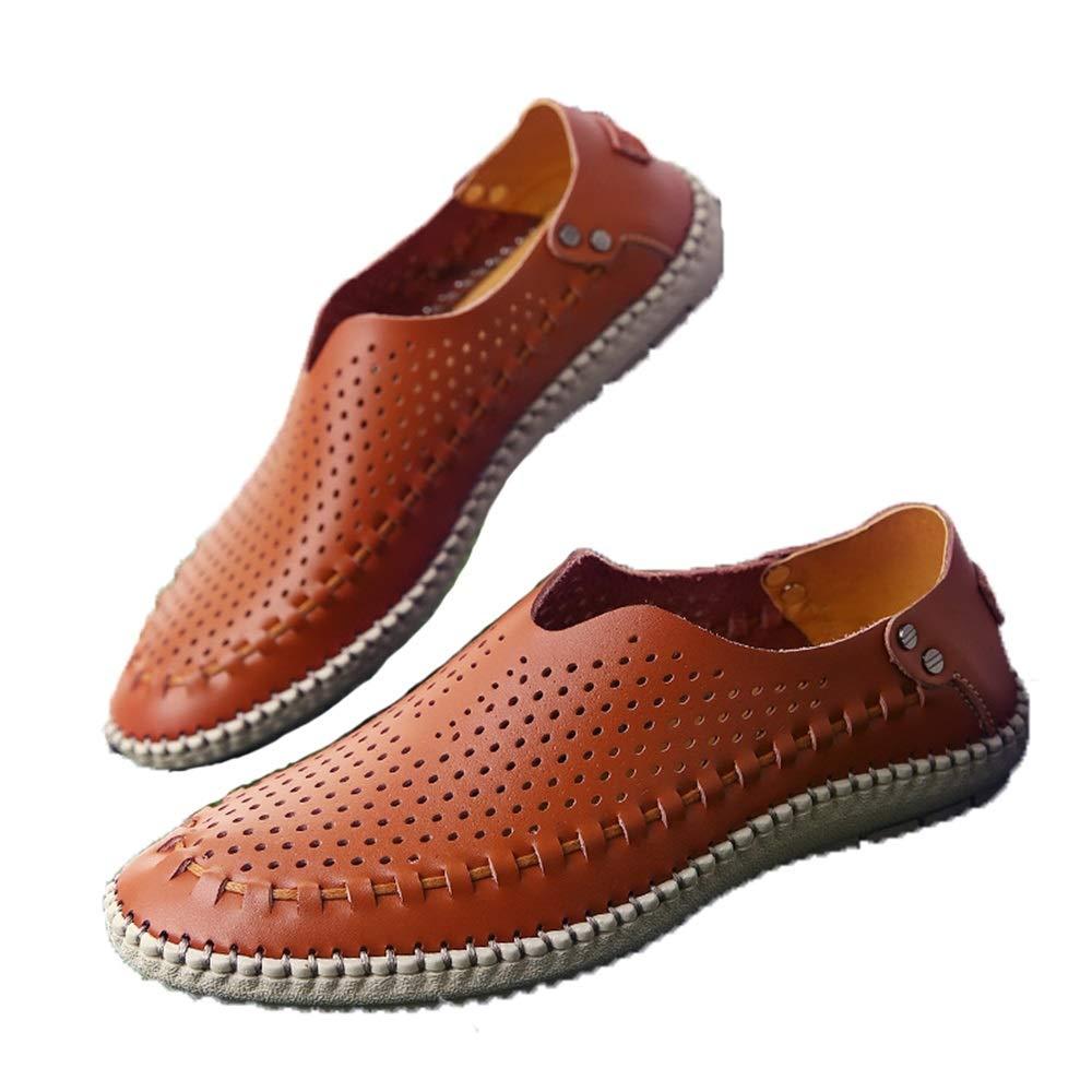 Fuxitoggo Echtes aushöhlen Leder Schuhe für Männer aushöhlen Echtes Wasserdichte weiche Sohle Loafers (Farbe : Weiß, Größe : EU 43) Braun 55f905