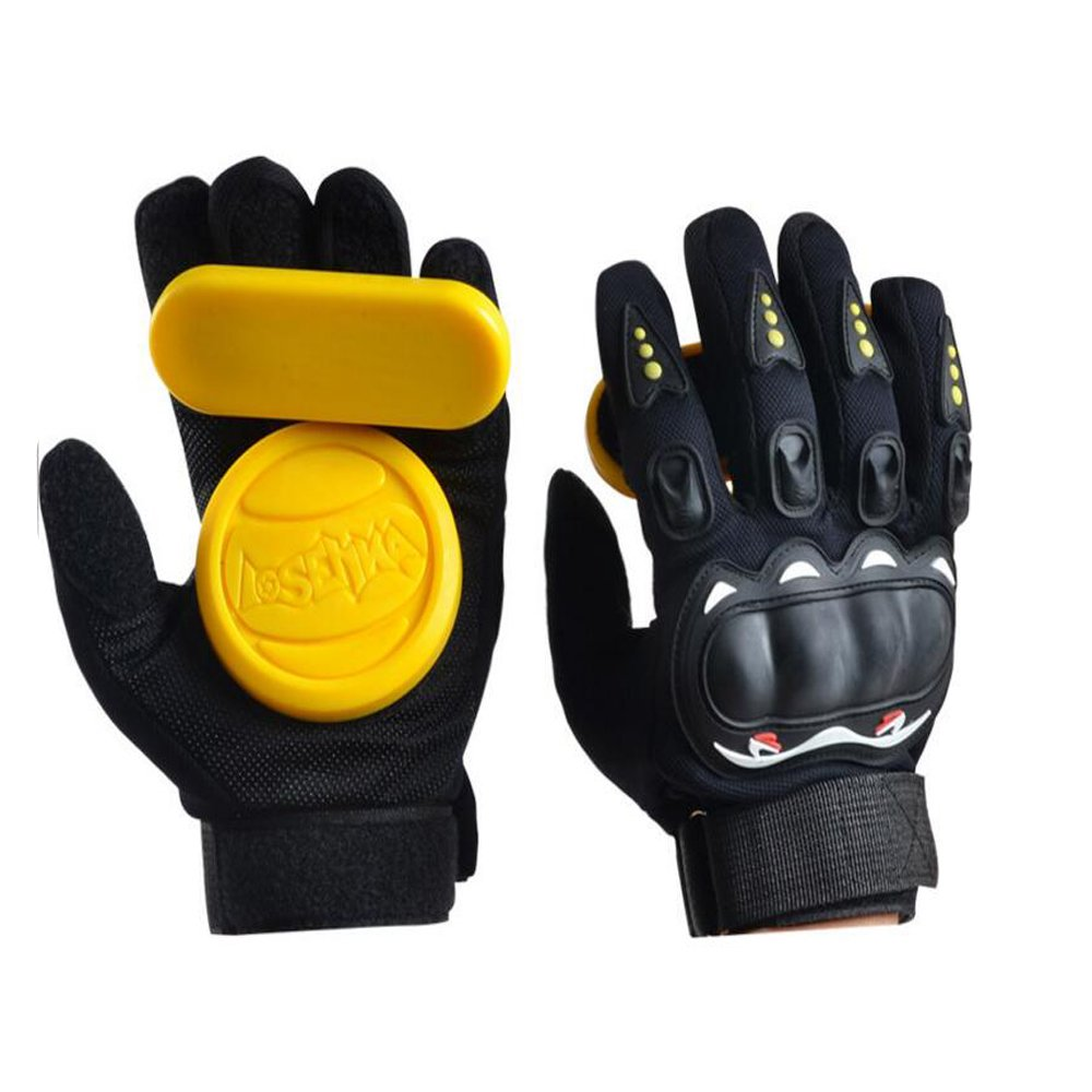 Adult Longboard Gloves Downhill Slide Gloves - Slide Gloves with 2 Set Replaceable Slider Puck Set, Yellow