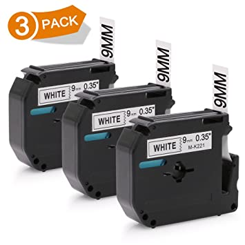 2PK compatible for Brother P-touch Labels M-K221 MK221 WHITE Tape PT90 PT80 PT85