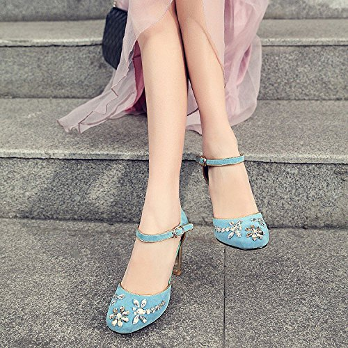 Mary Chaussures Robes Strass Mode Heels Pompes DKFJKI Jane Blue Sandales Lady TETqg