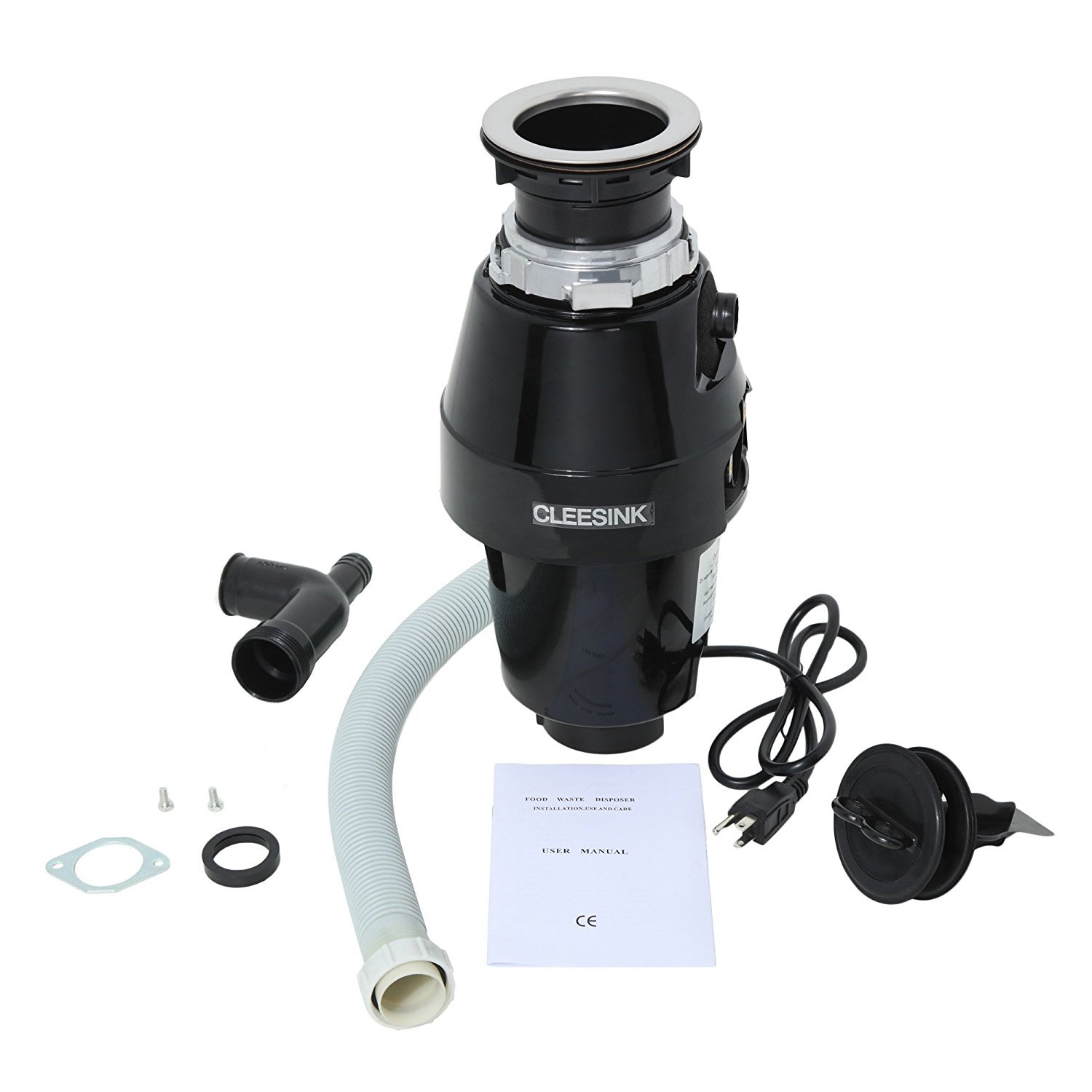 Cleesink 1/2 HP Food Waste Disposal, Kitchen Continuous Feed Garbage Disposal, 0.5 Horsepower, DC motor by CLEESINK (Image #2)