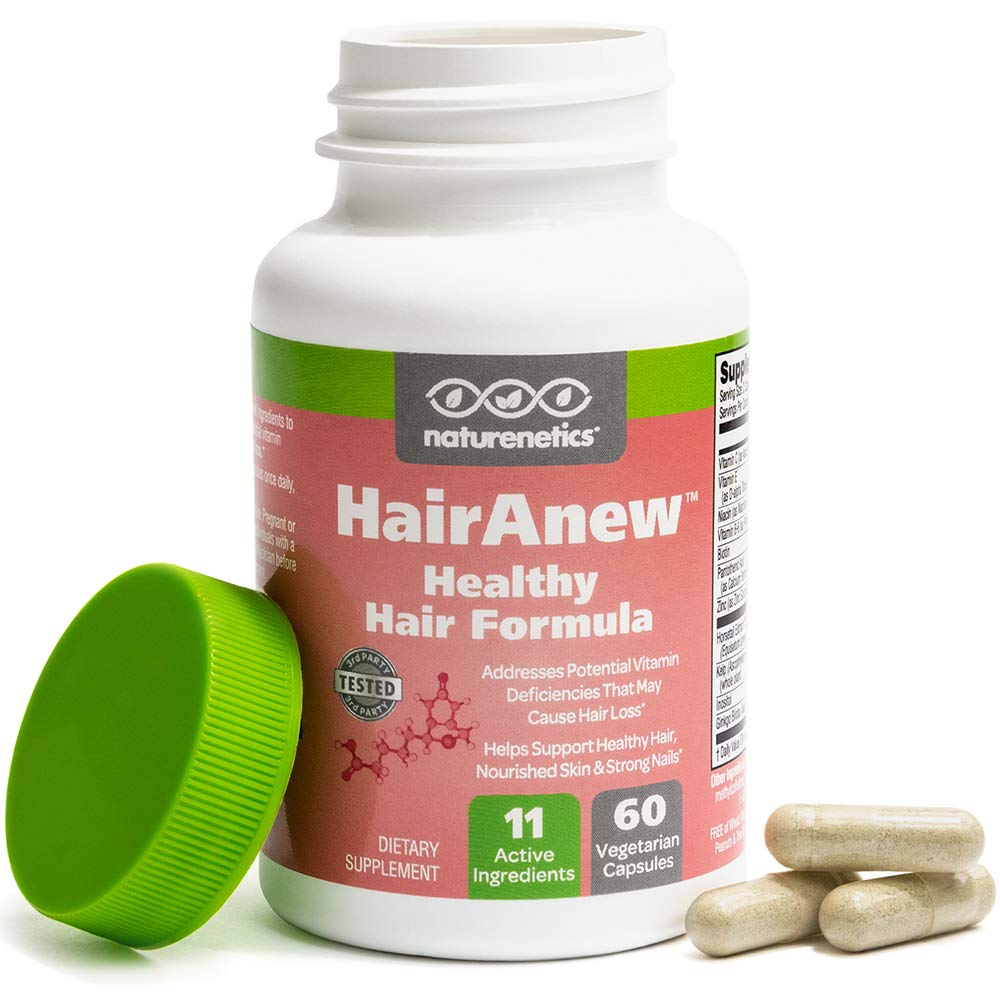 HairAnew (Unique Hair Growth Vitamins with Biotin) - Tested - for Hair, Skin and Nails - Women and Men - Addresses Vitamin Deficiencies that Could be the Cause of Hair Loss or Lack of Regrowth (1) by Naturenetics