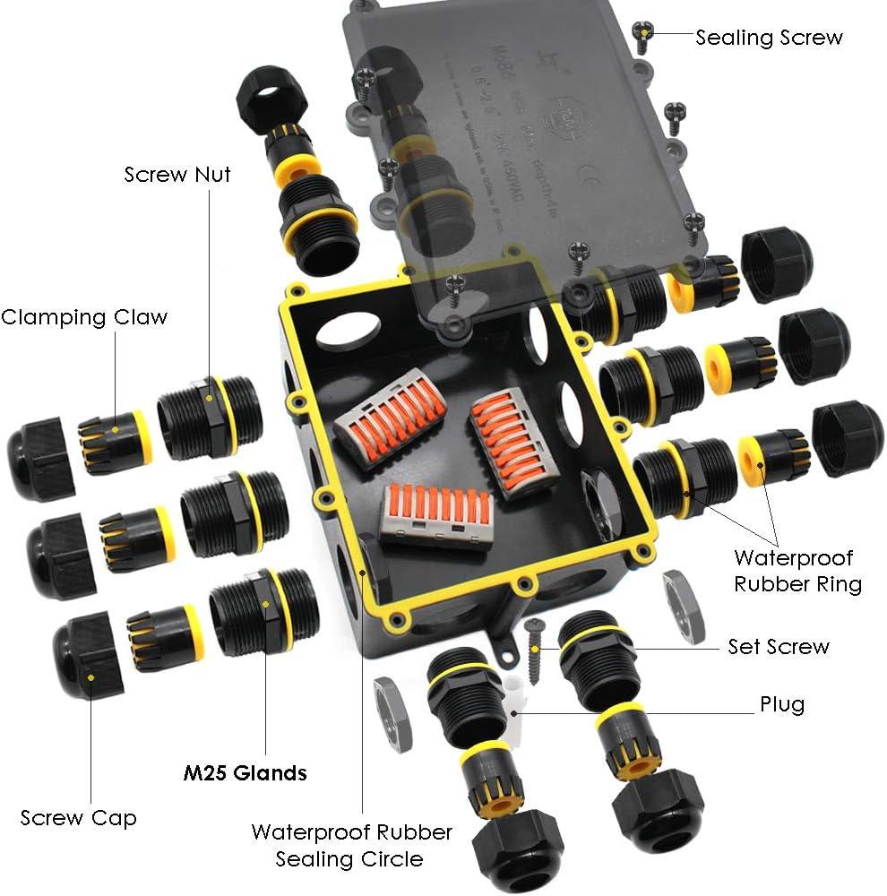 Huyu Bo/îte de jonction /étanche IP68 Connecteur de c/âble /étanche noir plus grande bo/îte de jonction ext/érieure /étanche c/âble de terre bo/îte de jonction /électrique noire