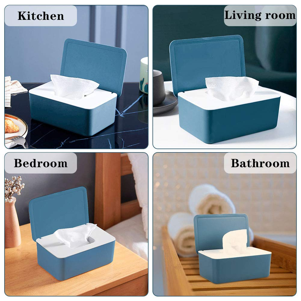 Whiidoom Diaper Wipes Dispenser Wipes Holder Wipes Tissue Case Keeps Wipes Fresh Tissue Wipes Container with Lid Blue