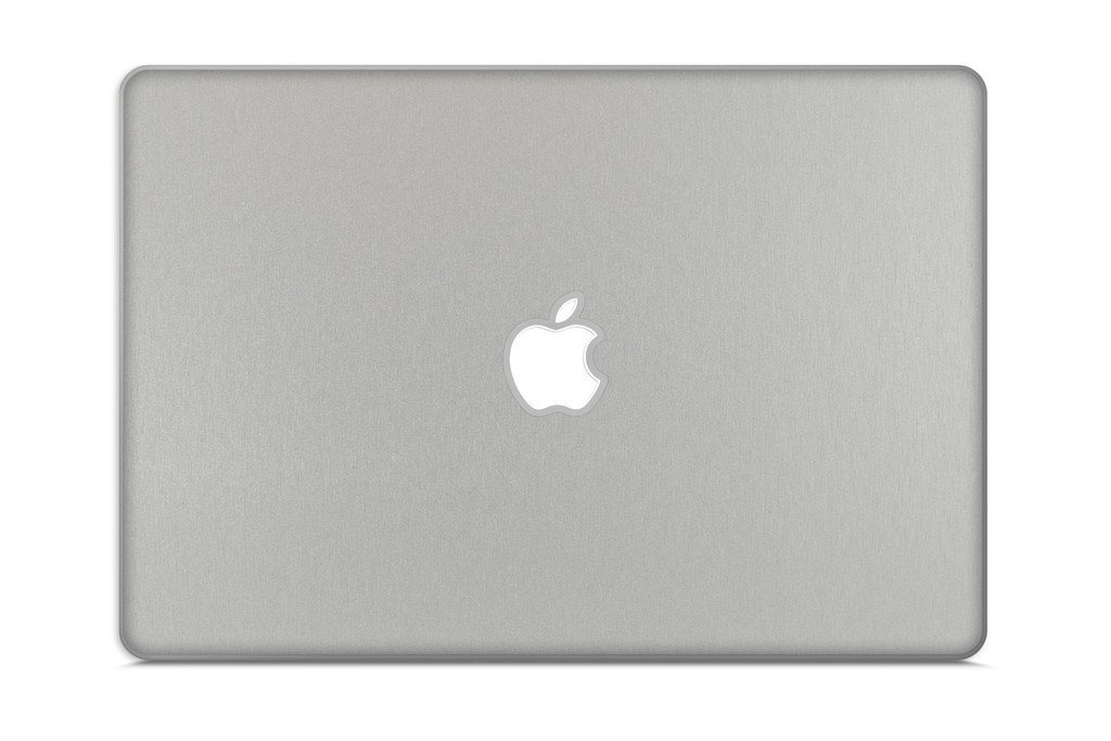 iCarbons Brushed Aluminum Vinyl Skin for MacBook Pro 17'' (Silver Unibody 2009-2012) Full Combo