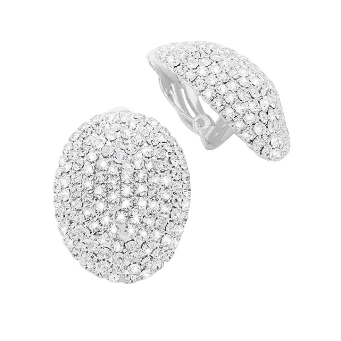 Rosemarie Collections Dazzling Rhinestone Oval Clip On Earrings (Silver Tone)