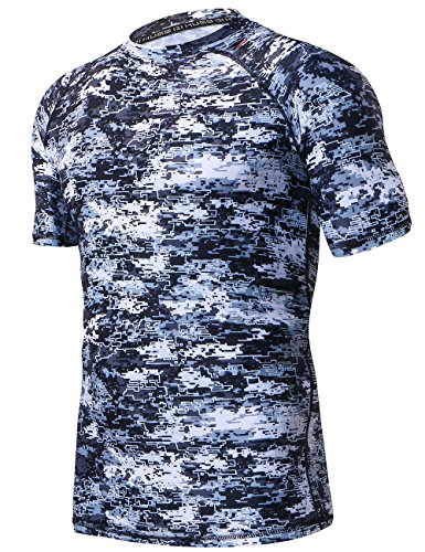 (HUGE SPORTS Men's UV Sun Protection UPF 50+ Full Digital Print Rash Guard Short Sleeves (Pixel Light,)